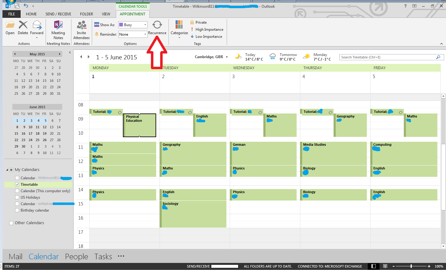 Calendar with Recurrence button highlighted
