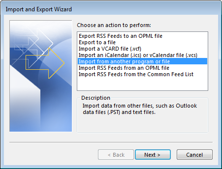 Outlook Import Window