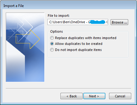 Outlook Import Window and duplicate option selected